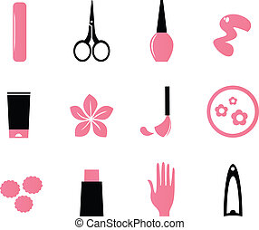 icons, красота, cosmetics, (, изолировать, белый, маникюр, кипа, розовый