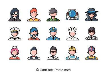 icons, люди, задавать, профессий, eps10