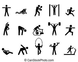icons, люди, черный, задавать, фитнес