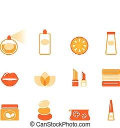 icons, оранжевый, (, задавать, косметический, спа, ), оздоровительный