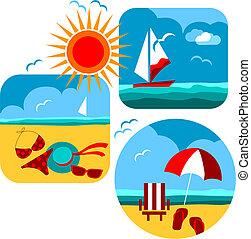 icons, пляж, путешествовать, лето, море