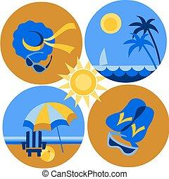 icons, пляж, -2, путешествовать, лето, море