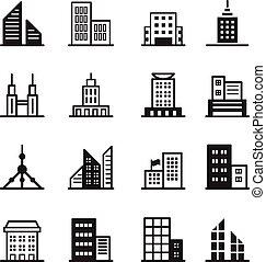 icons, символ, здание, иллюстрация, вектор