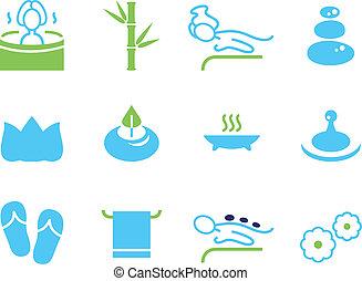 icons, спа, оздоровительный, isolated, задавать, массаж, белый