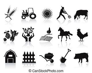 icons, черный, задавать, ферма, сельское хозяйство