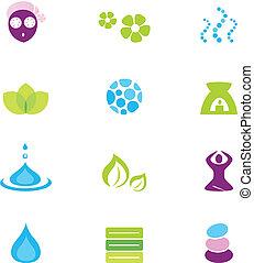 icons, isolated, вектор, спа, природа, оздоровительный, белый