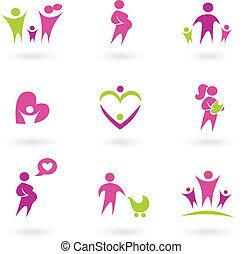 icons, -, isolated, здоровье, беременность, розовый, материнство, белый