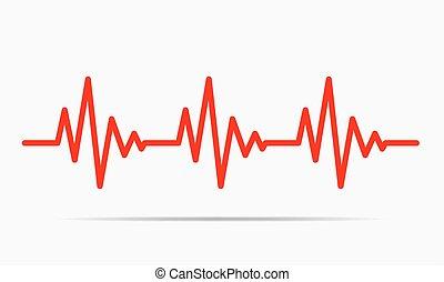 illustration., -, вектор, сердцебиение, значок