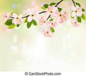 illustration., весна, blossoming, дерево, flowers., вектор, задний план, поздний завтрак
