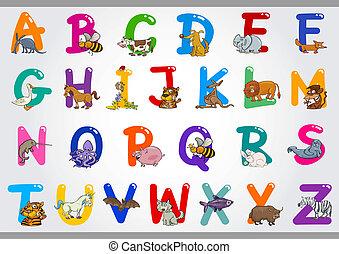 illustrations, алфавит, animals, мультфильм