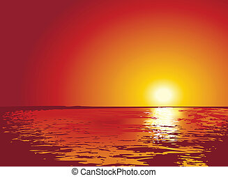 illustrations, закат солнца, или, восход, море