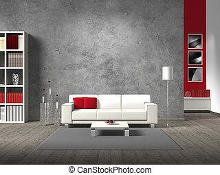innfringed, своя, стена, современное, ваш, жизненное пространство, -, за, взятый, sofa;, белый, photos, задний план, копия, меня, комната, rights, диван, нет, бетон, фиктивный, image/photos