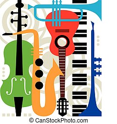 instruments, абстрактные, вектор, музыка