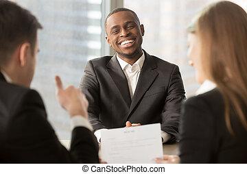 inte, кандидат, успешный, показ, вверх, работодатель, черный, thumbs