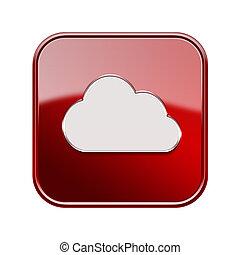 isolated, задний план, белый, значок, облако, красный