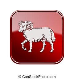 isolated, задний план, овен, зодиак, красный, белый, значок