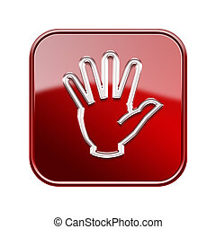 isolated, рука, глянцевый, задний план, белый, красный, значок