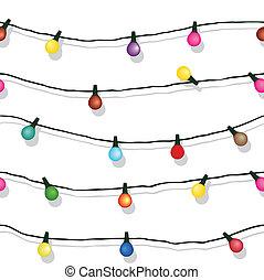isolated, строка, lights, белый, рождество, бесшовный