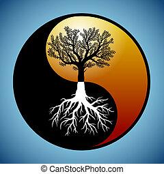 it's, символ, инь, дерево, янь, roots
