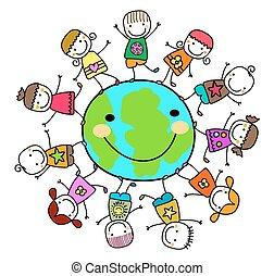 kids, вокруг, планета, земля, playing, счастливый