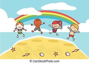 kids, пляж, прыжки, счастливый