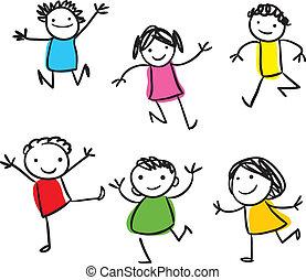 kids, прыжки, счастливый