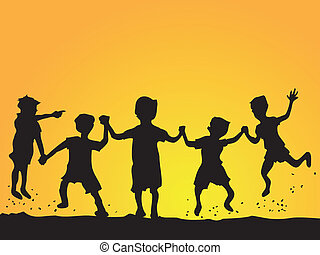 kids, силуэт, playing