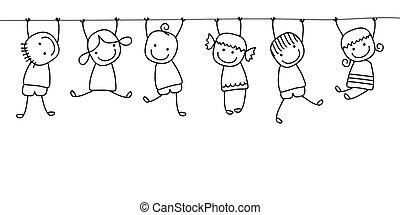 kids, playing, счастливый