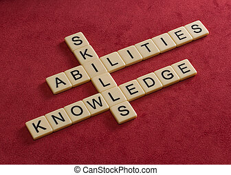 knowledge., навыки, learning, головоломка, кроссворд, words, abilities, concept.