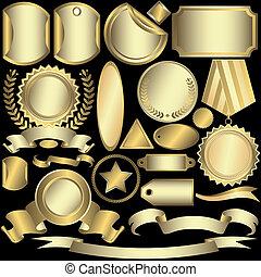 labels, золотой, (vector), задавать, серебристый