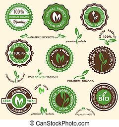 labels, органический, коллекция, icons