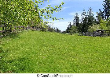 landscape., земельные участки, забор, ферма, весна, зеленый