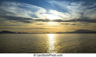 landscape., океан, место действия, закат солнца, море, scape, пляж