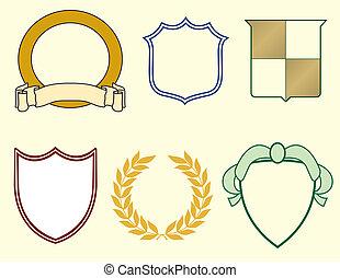 laurels, щиты, logos