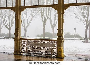 lazne, (marienbad), время, marianske, зима, колоннада, republic., фрагмент, город, спа, чешский