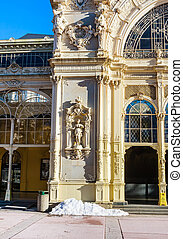lazne, (marienbad)., чешский, marianske, спа, фрагмент, колоннада, республика, город