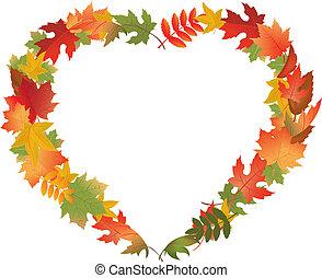 leaves, форма, сердце, осень