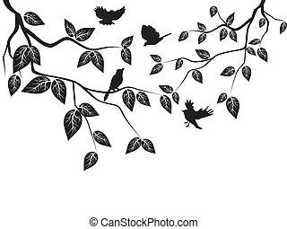 leaves, birds