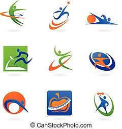 logos, фитнес, красочный, icons