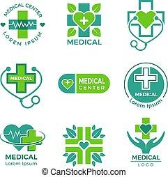 logotypes., или, медицинская, пересекать, аптека, symbols, клиника, вектор, дизайн, шаблон, лекарственное средство, плюс, здоровье, больница, забота