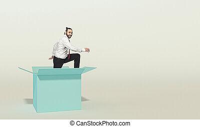looks, он, вне, улыбается, комната, box., бизнесмен, comes