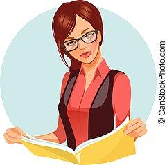 magazine., женщина, чтение