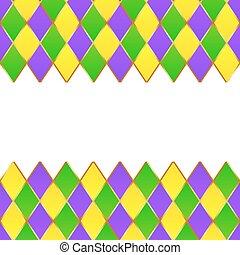 mardi, пурпурный, рамка, gras, желтый, сетка, зеленый