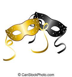 masks., карнавал, два, вектор