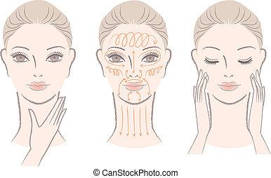 massaging, женщина, шея, ее, лицо