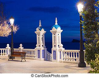mediterraneo, benidorm, balcon, alicante, закат солнца, испания