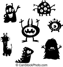 monsters, silhouettes, милый