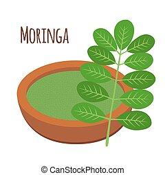 moringa, трава, nutrition., дерево, вегетарианец, здоровый, овощной, superfood., порошок, flowerpot.