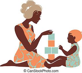 mother's, силуэт, playing, красивая, toys., детка, счастливый, день, мама