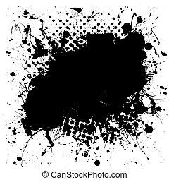 mottled, гранж, восклицательный знак, чернила